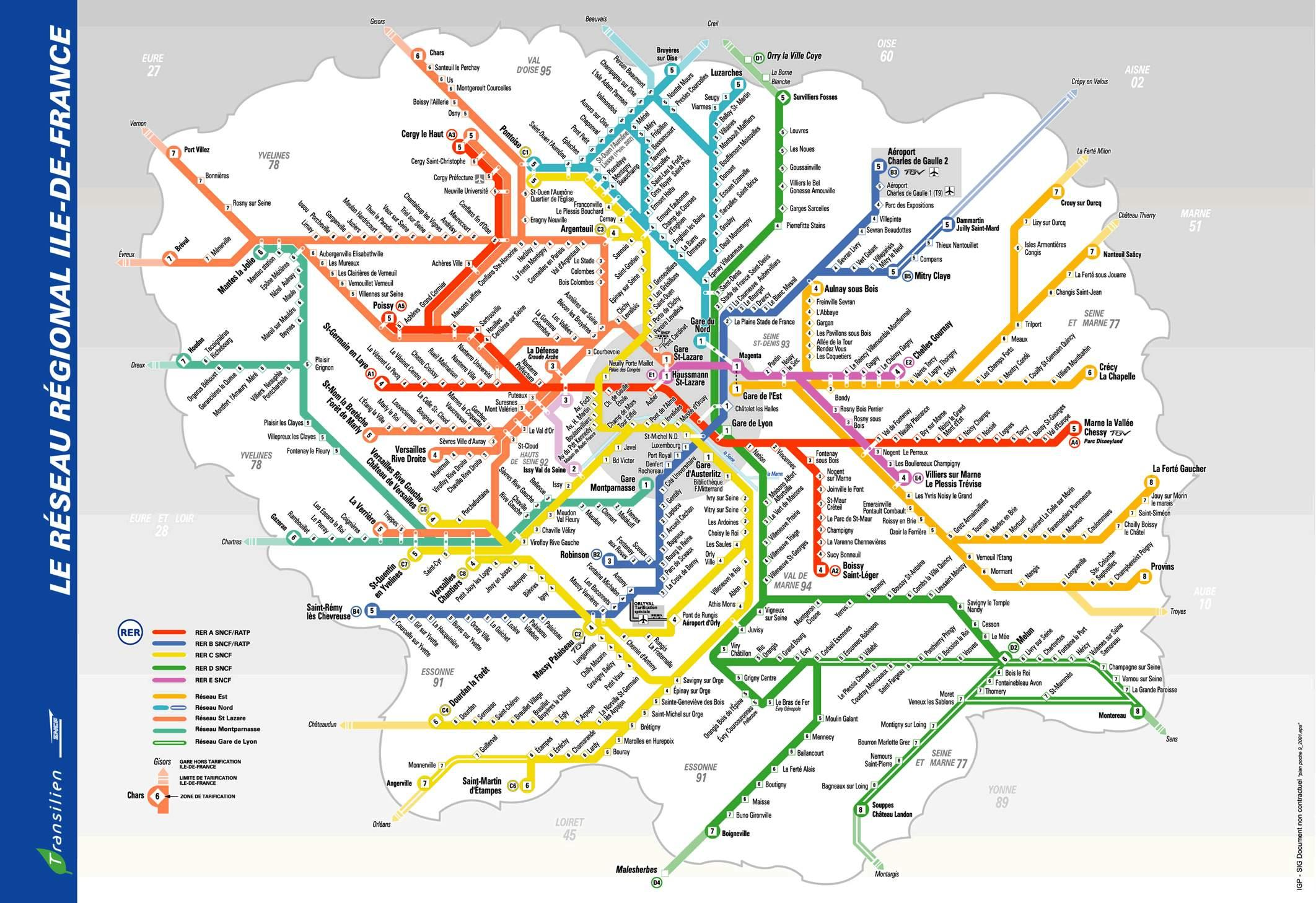 Paris metro and rer map - Rer metro map (Île-de-France - France)