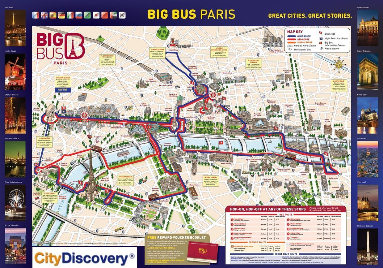 Paris Red Bus Tour Map Red Bus Paris Route Map Ile De France