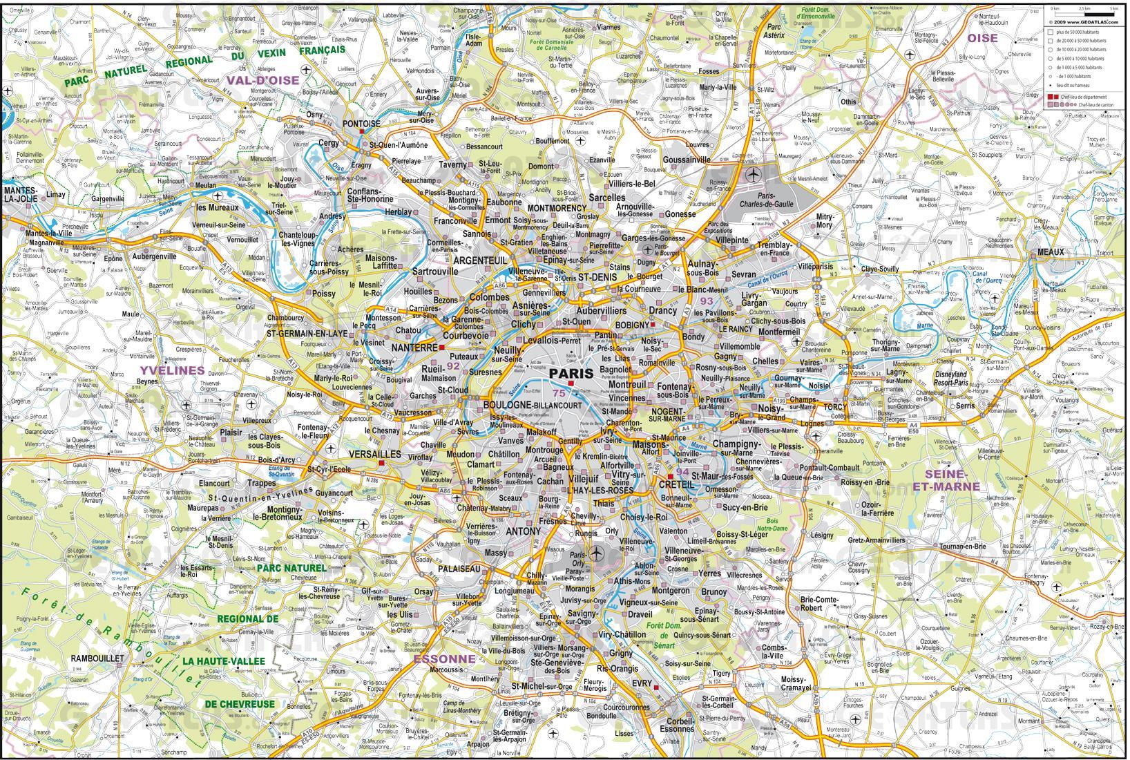 Map Of France Roads.Paris Roads Map Paris Road Map Ile De France France