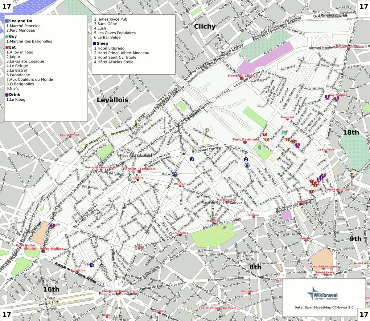 Map of 17th arrondissement Paris