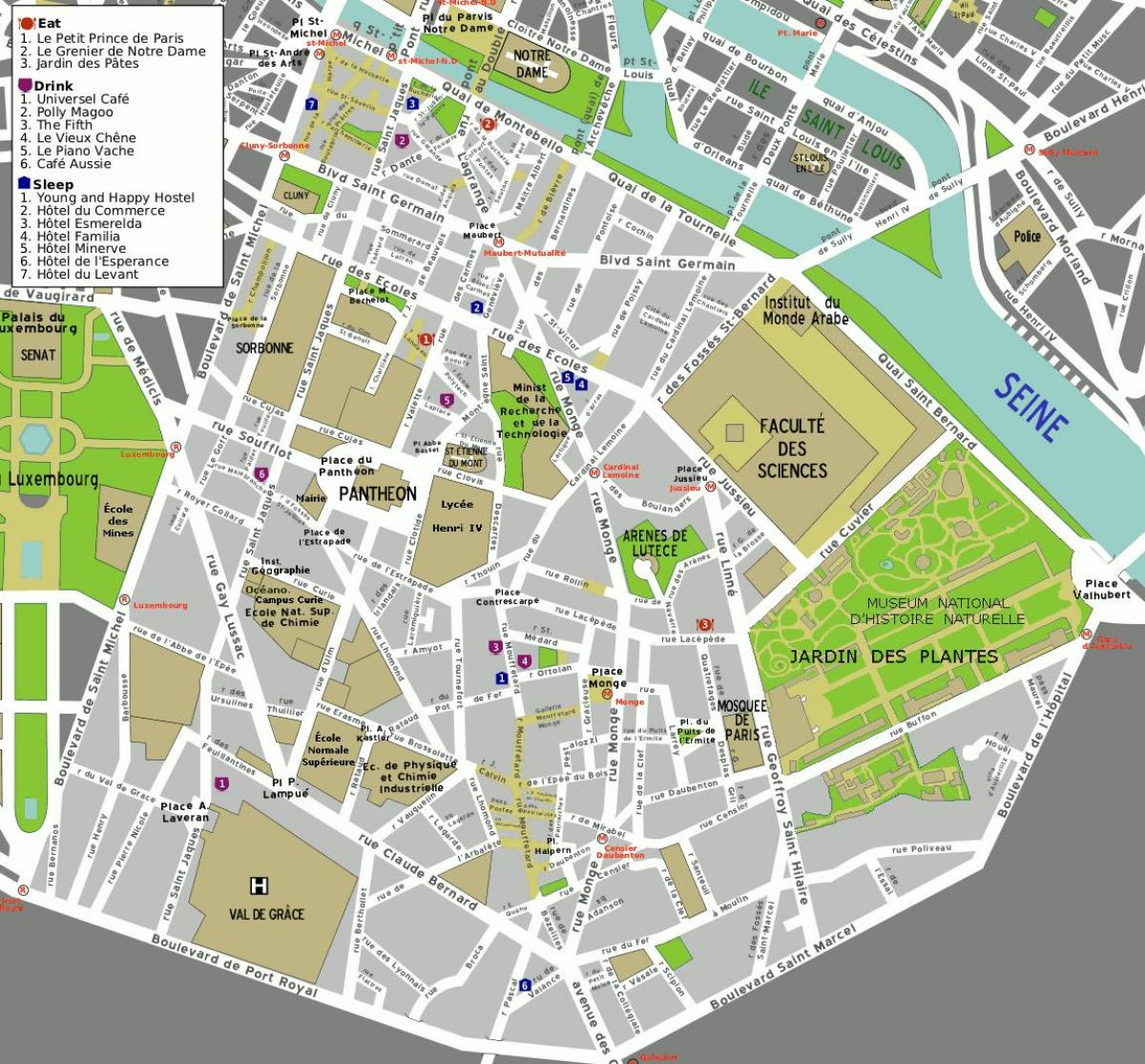 map of 5th arrondissement Paris