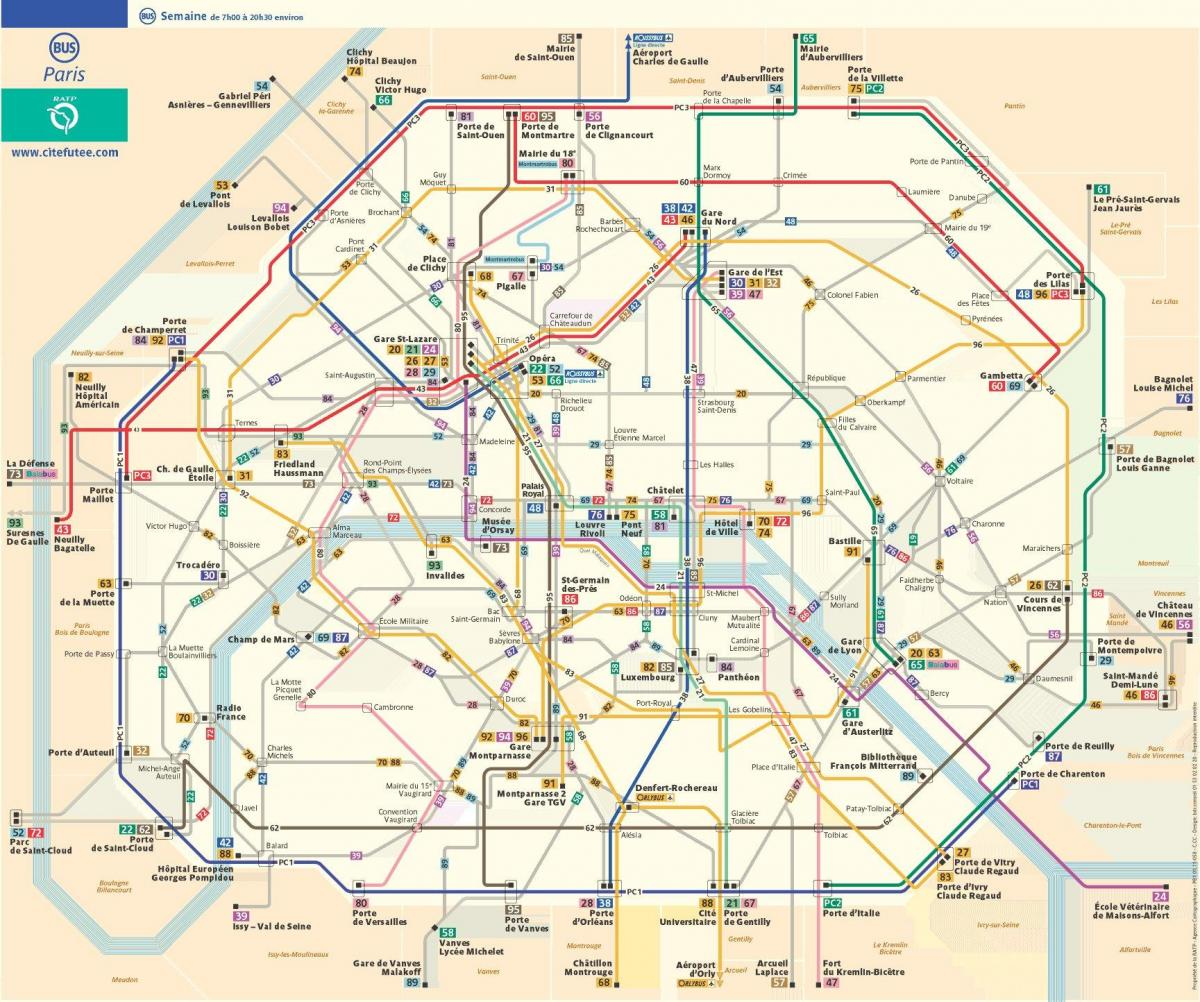 Map of bus route Paris France