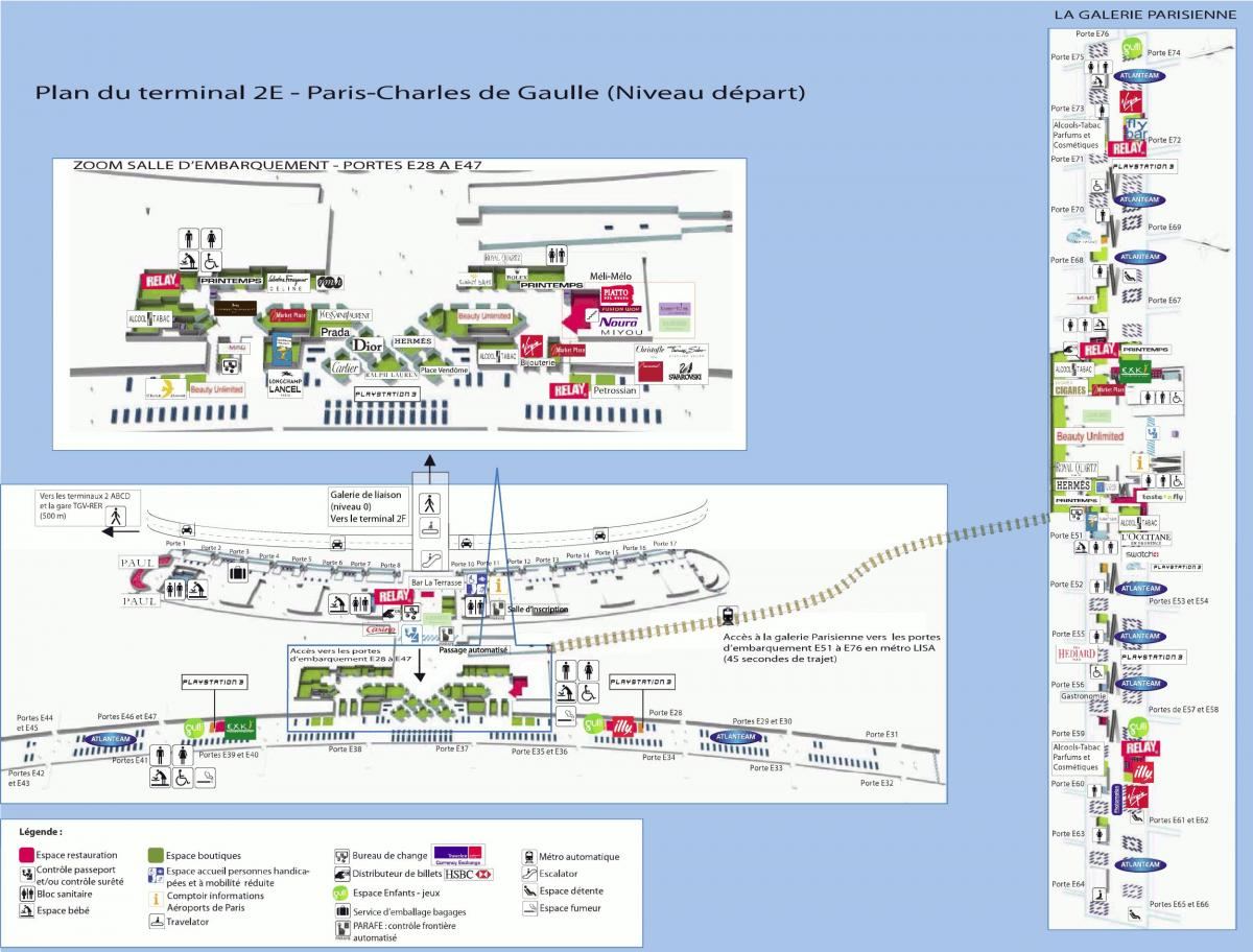 charles de gaulle airport map 2e to 2f