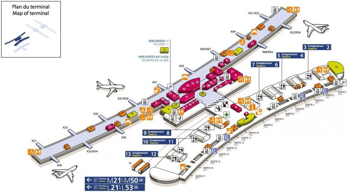 Paris charles de gaulle airport map terminal 2