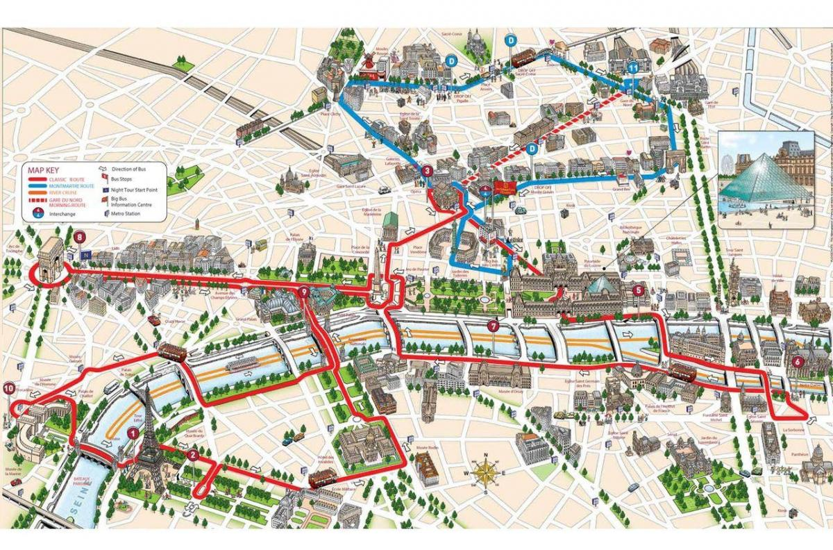 Map of city sightseeing Paris