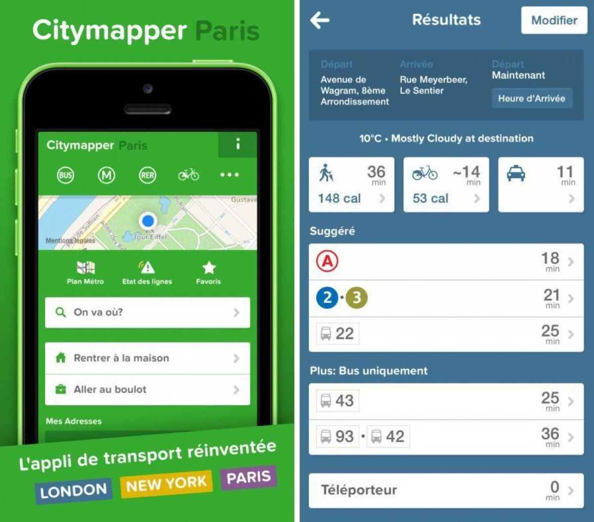 Map of citymapper Paris