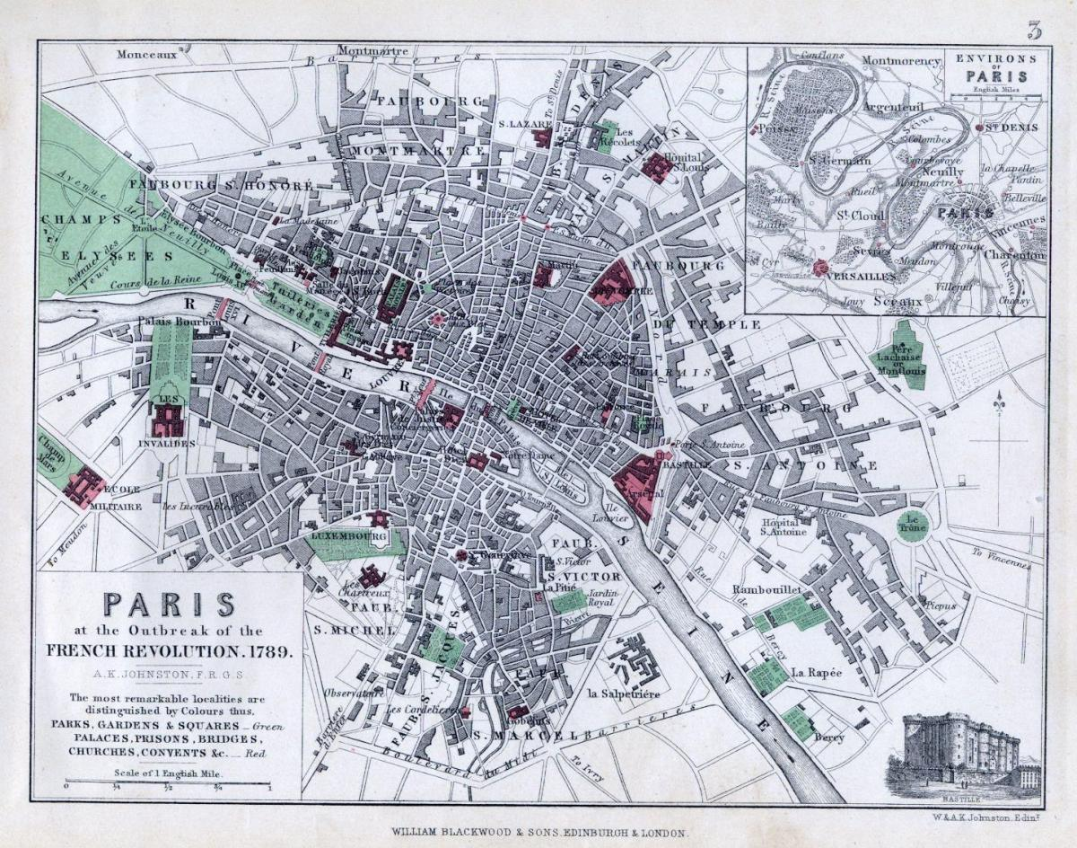 Map ofhistorical map Paris