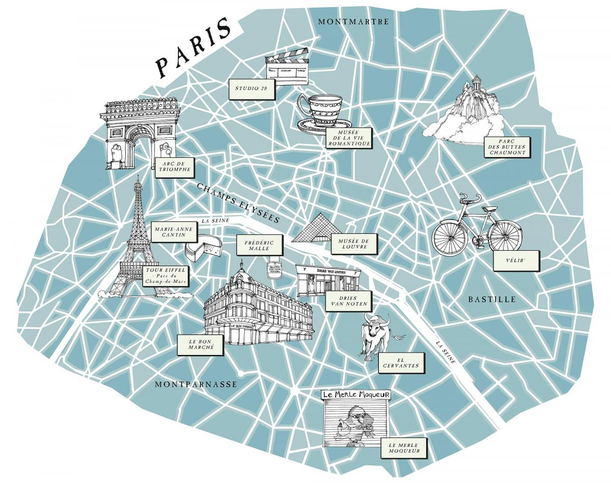 Map of illustrated Paris