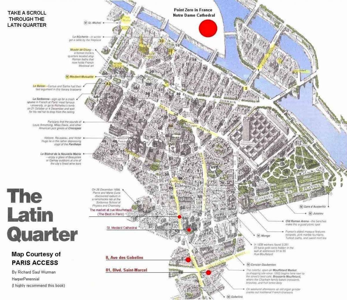 Map of latin quarter Paris