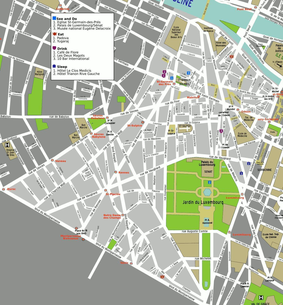 Map of 6th arrondissement Paris