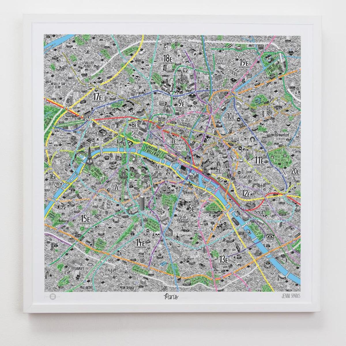 Map of Paris art
