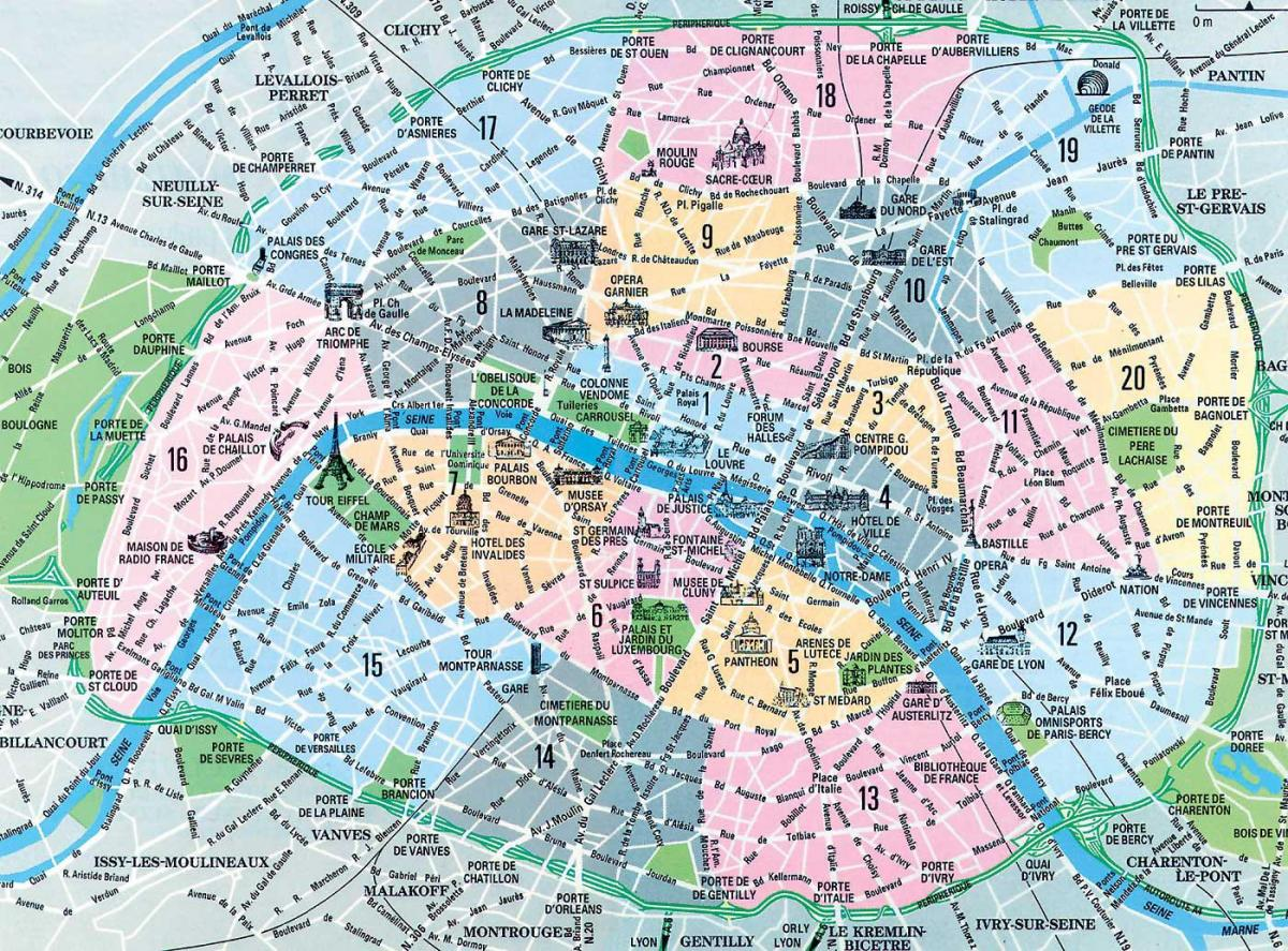 map of Paris neighborhoods and landmarks
