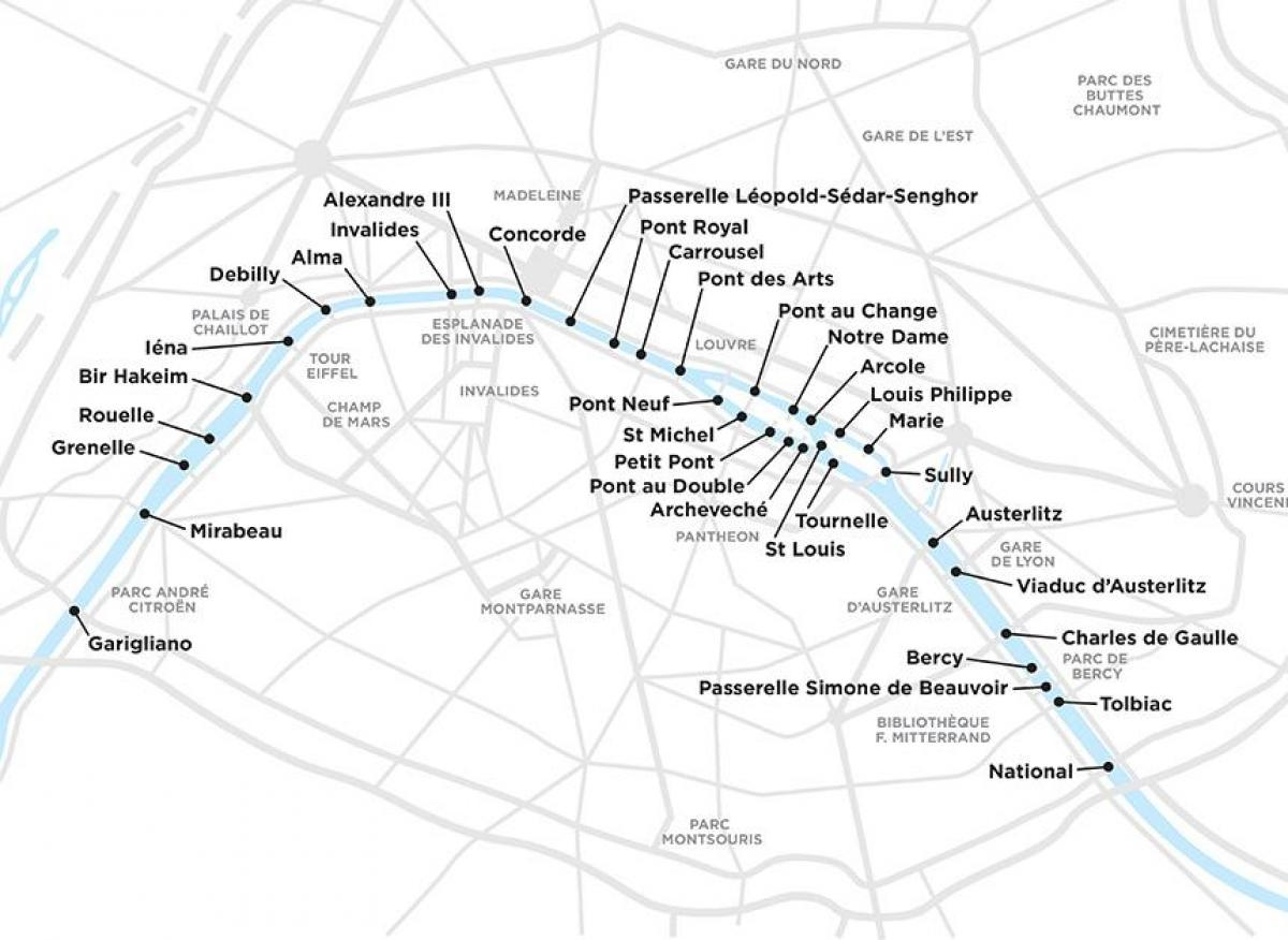 Map of Paris bridges