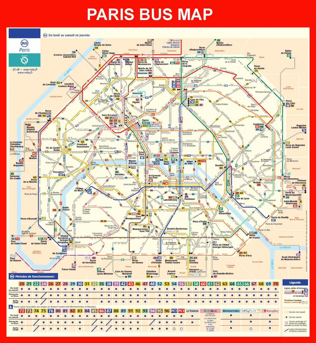 Map of Paris bus station