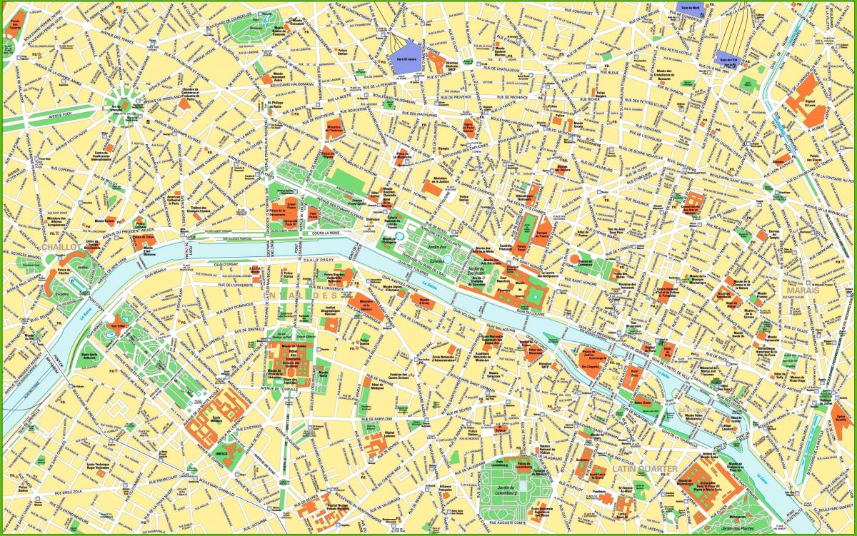 map of Paris city centre attractions