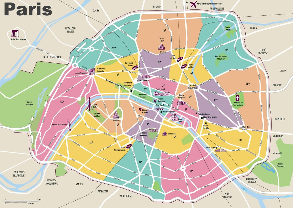 Paris main attractions map