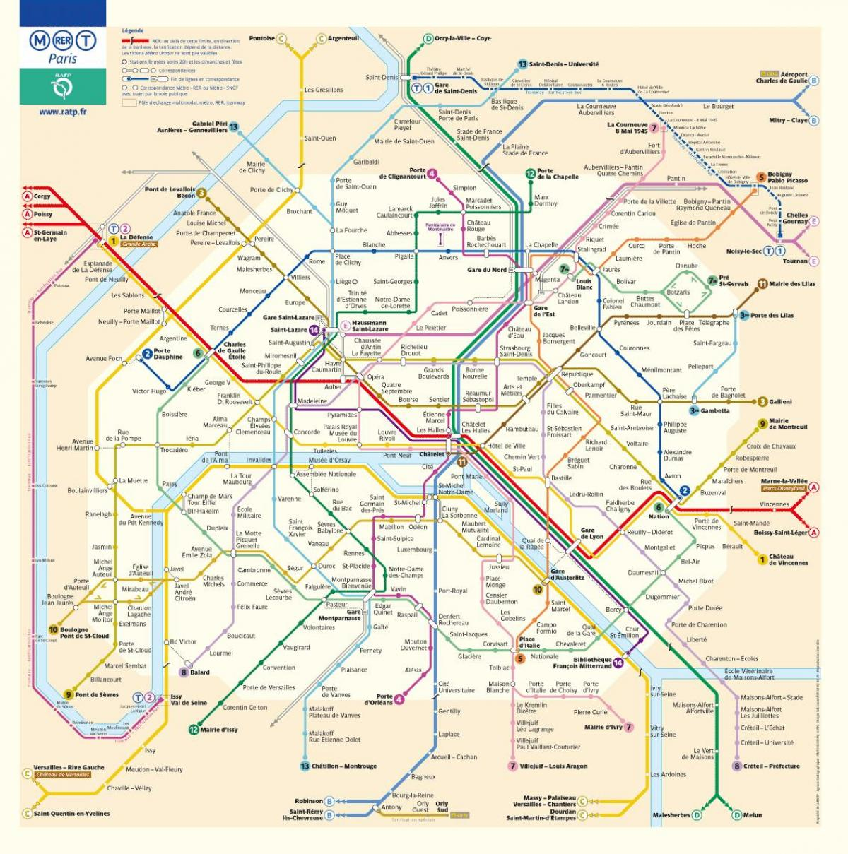 metro map of Paris France in english