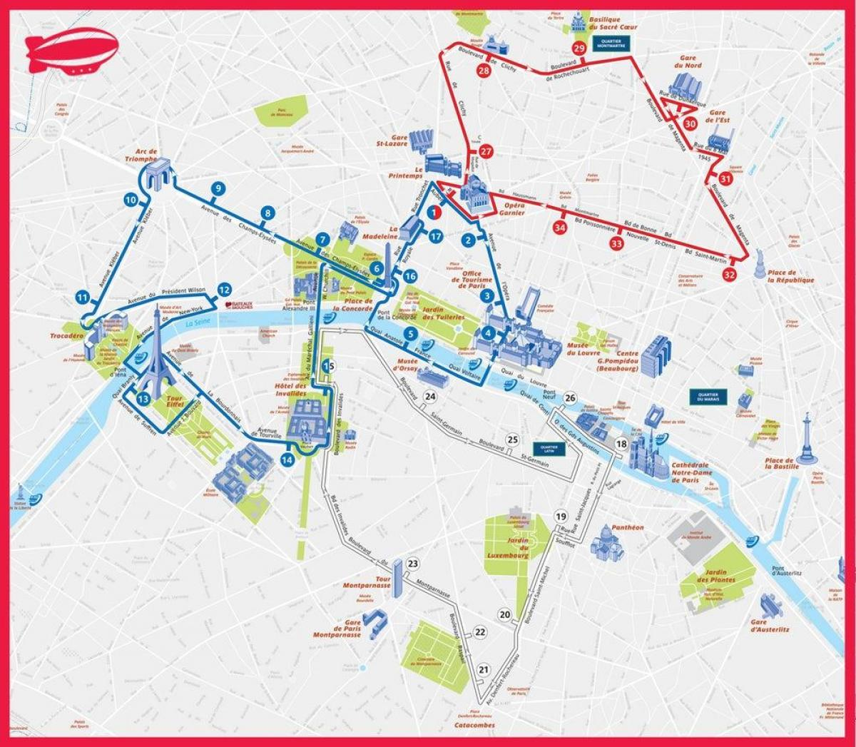 Paris tourist bus route map