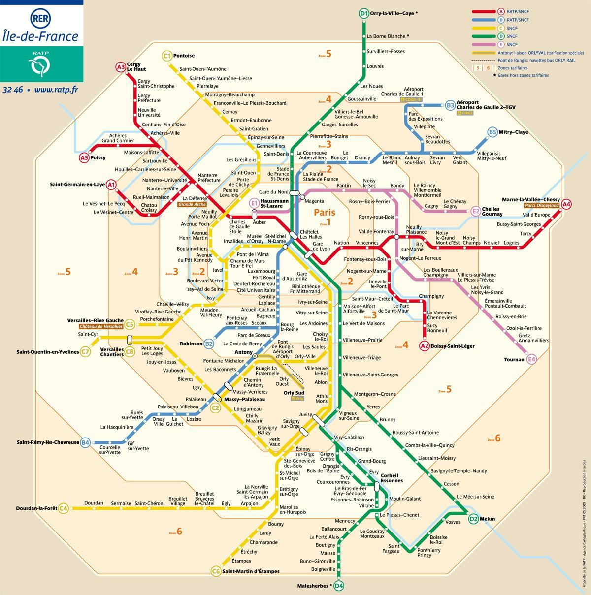 Paris zone map metro