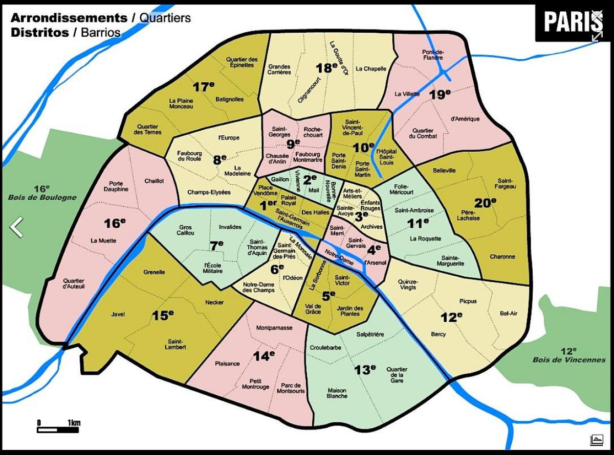 Map of Paris postcode