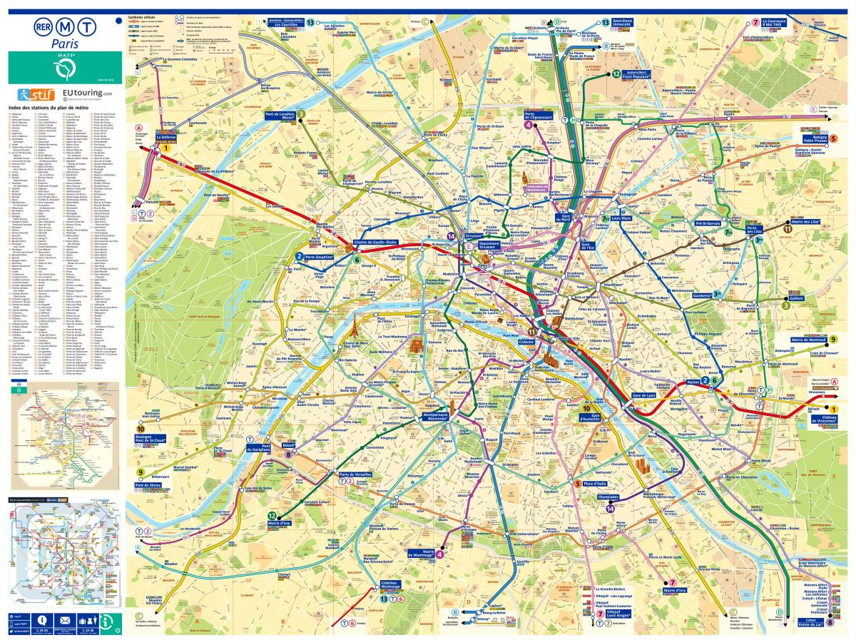 map of Paris with attractions and metro stations