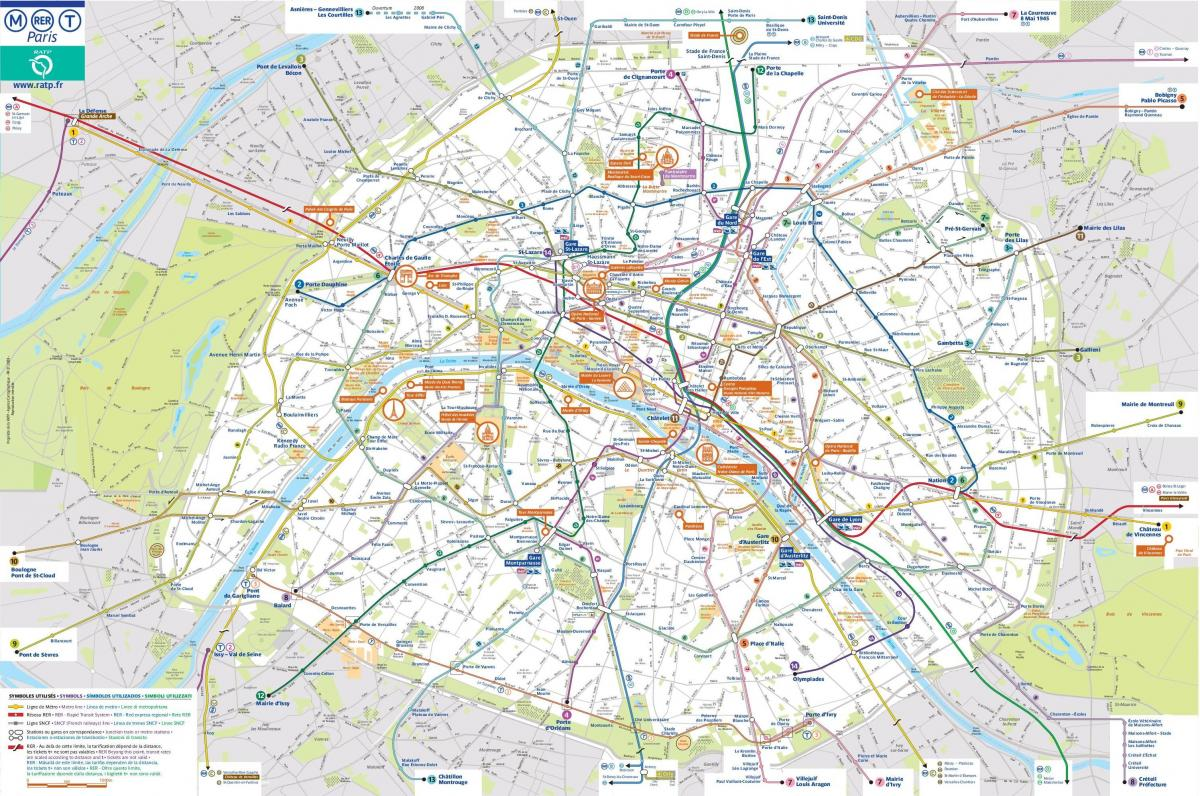 Paris public transit map