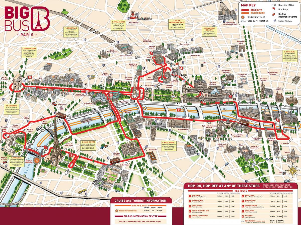 Map of red bus Paris