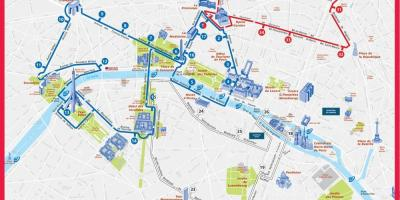 Paris hop on hop off route map