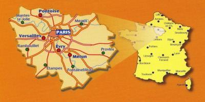Map of Paris France and surrounding area