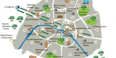Paris top attractions map