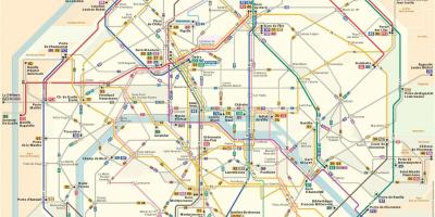 Paris bus map with streets