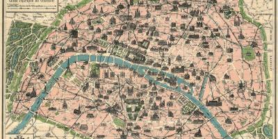 Map of Paris antique