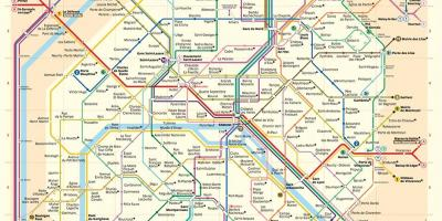 Paris metro map with streets