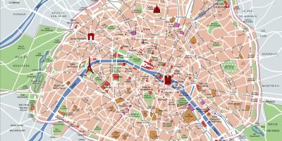 Paris metro map with tourist attractions