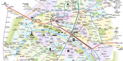 Tourist map of Paris with metro stations