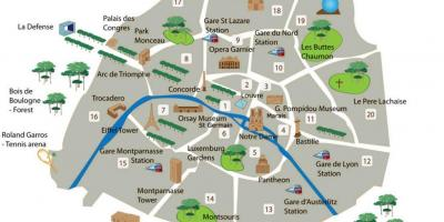 Map of Paris France with tourist attractions